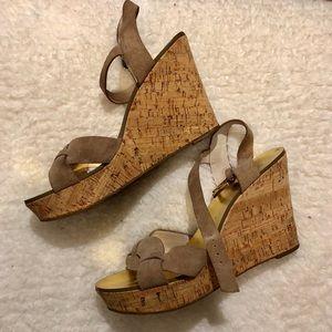 MICHAEL KORS Suede Gold Cork Wedge Sandals- AMBER